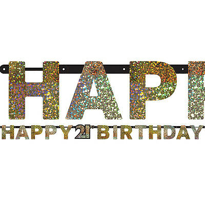 21ST HAPPY Birthday Letter Banner Black Silver Gold Party