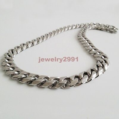 "Top 316L Stainless Steel Heavy Link Silver Curb Cuban Chain Men Necklace 8""-40"" 8"