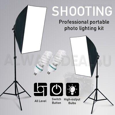 1350W Photography Studio Softbox Continuous Lighting Soft Box Light Stand Kit UK 2