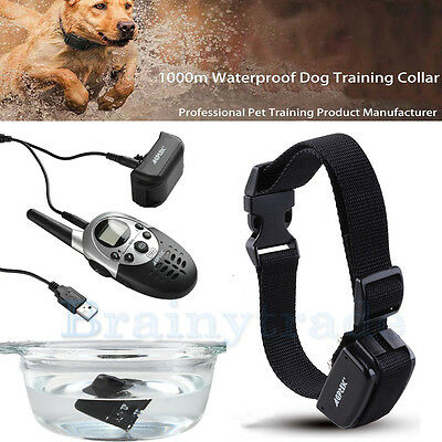 1000Yard Waterproof Shock Vibrate Remote Training Collar for Large Med Small Dog 9