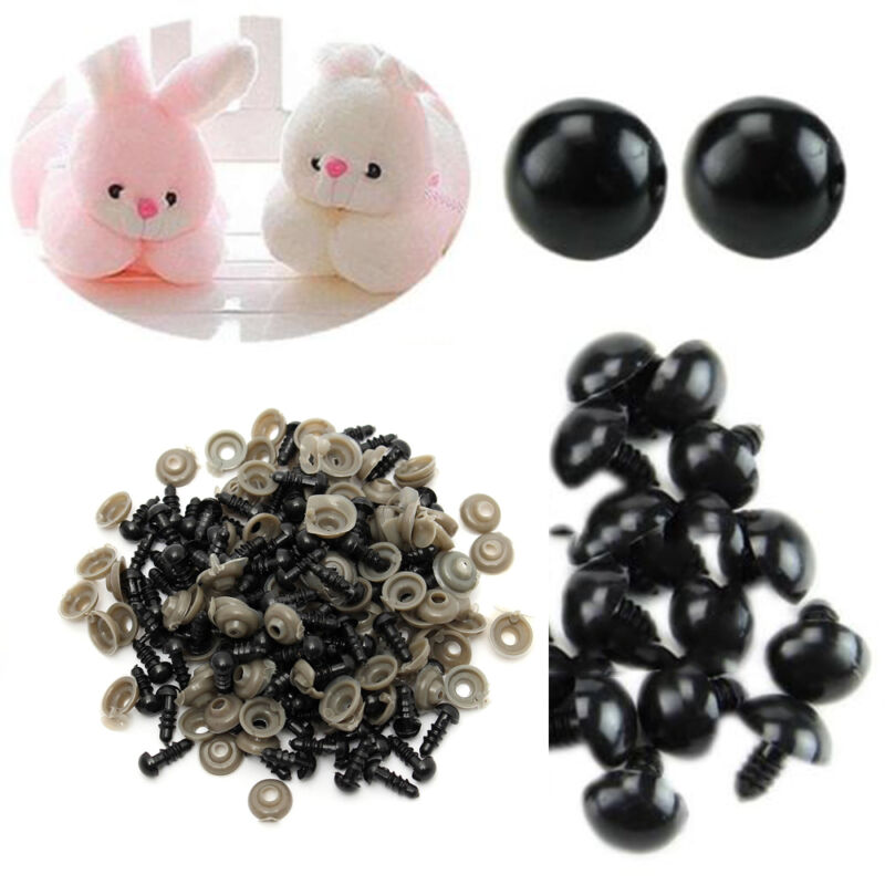 Cute 100 Pcs Popular 6-14mm Black Plastic Safety Eyes for Bear Dolls Toy Animal 2