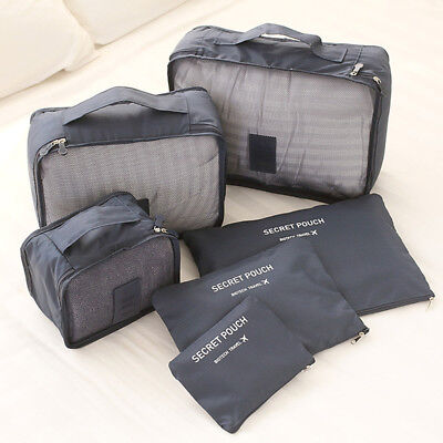 6PCS Travel Luggage Organiser Cube Clothes Storage Pouch Suitcase Packing Bags 3