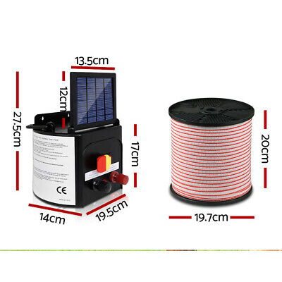 5km Solar Power Electric Fence Charger Kit Farm Fencing Tape Insulator Sign NEW 3