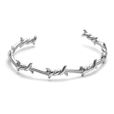Bracciale da uomo in acciaio inox rigido braccialetto con filo spinato 2