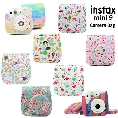 Fujifilm Instax Mini 8 9 Film Instant Camera Flamingo Bag PU Leather Cover Case 3