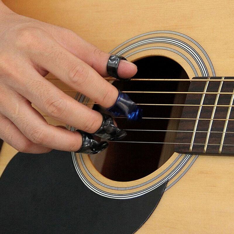 New!! 3 Finger Picks + 1 Thumb Pick Plectrums Guitar Adjustable Plastic Set