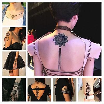 Black White Henna Lace chocker Body art hand arm Hair Stencil Temporary Tattoo 5