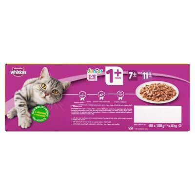 80 x 100g Whiskas 1+ Adult Wet Cat Food Pouches Mixed Poultry Jelly 4