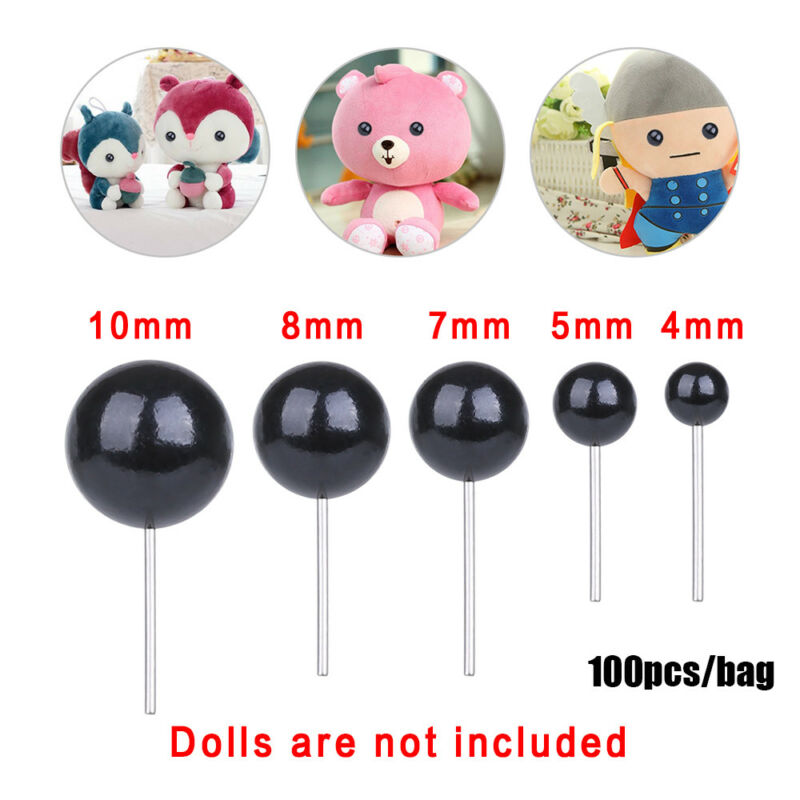 100Pcs Black Glass Dolls  Eyes Needle Felting For Bears Animals4/5/7/8/10mm 3