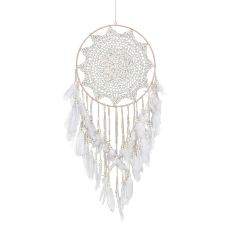 43 inch Large Handmade Dream Catcher With White Feathers Bead Kids Room Decor US 7