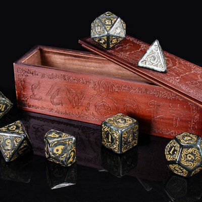 Titan Dice: Nyx | 7 Giant Polyhedral Dice Set in Wooden Box | 25mm Jumbo Dice 4