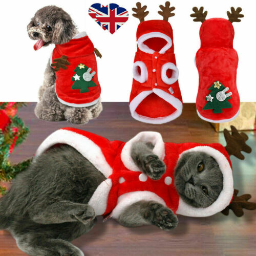 UK Pet Cat Dog Christmas Outfit Costumes Reindeer Hoodie Dress Xmas Clothes Coat 3