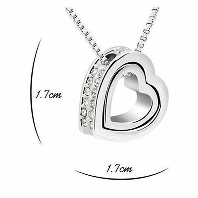 Fashion Women Pendant Jewelry Crystal Heart 925 Sterling Silver Necklace+Chain 2