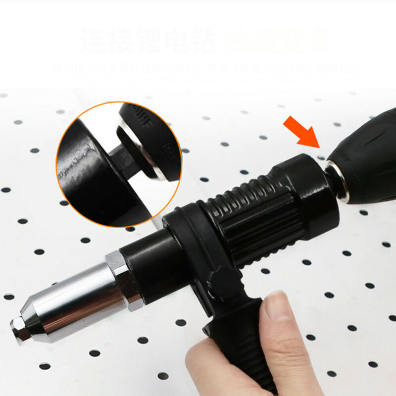Adaptateur Rivet Drill Attachment Rivetage Nut Gun fil électrique Carpenter Tool 4