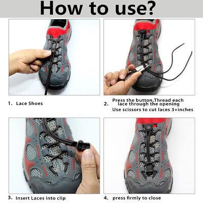 Shoe Laces Unsiex Adults Kids Elastic No Tie Locking Shoelaces Sports Sneaker AU 4