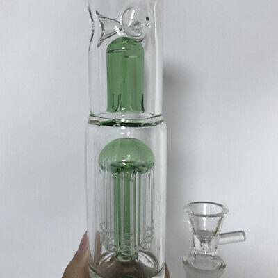 16'' Hookah Shisha Water Smoking Pipe Glass Bong 3 Perk w/ Ice Catcher 18mm Bowl 6