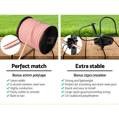 New 5km Solar Power Electric Fence Charger Kit Farm Fencing Tape Insulator Sign 6