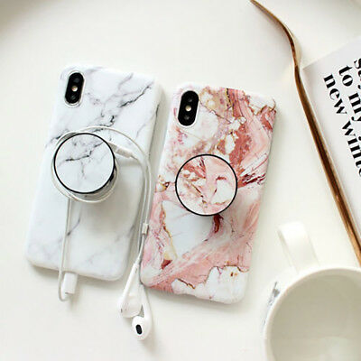 For iPhone XS Max XR 6 7 8 Plus Marble Pattern Pop Stand Holder TPU Case Cover 5