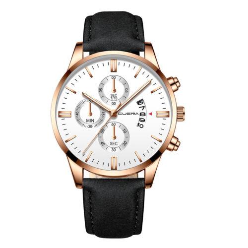 Fashion Sport Men's Stainless Steel Case Leather Band Quartz Analog Wrist Watch 10