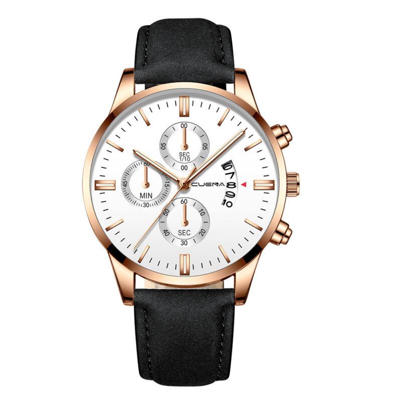 Fashion Sport Men's Stainless Steel Case Leather Band Quartz Analog Wrist Watch 9