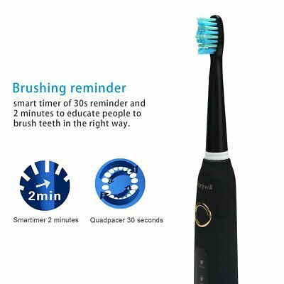 Fairywill Sonic Electric Toothbrush Waterproof 10x Soft Heads Rechargeable USB 3