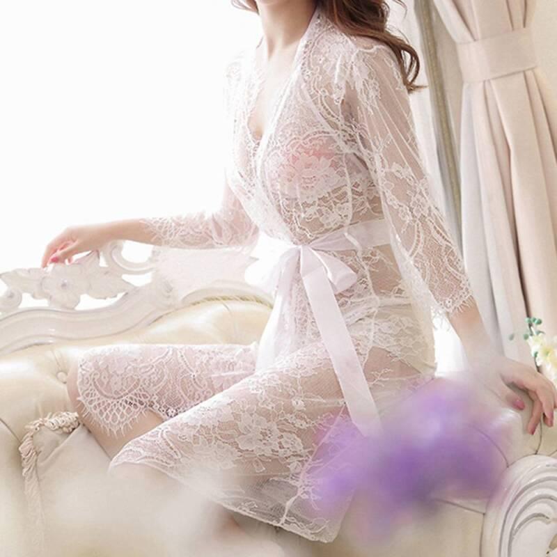 Woman Sexy Lace Sleepwear Nightwear Kimono Robe Nightwear Night robe Sleep Dress 2