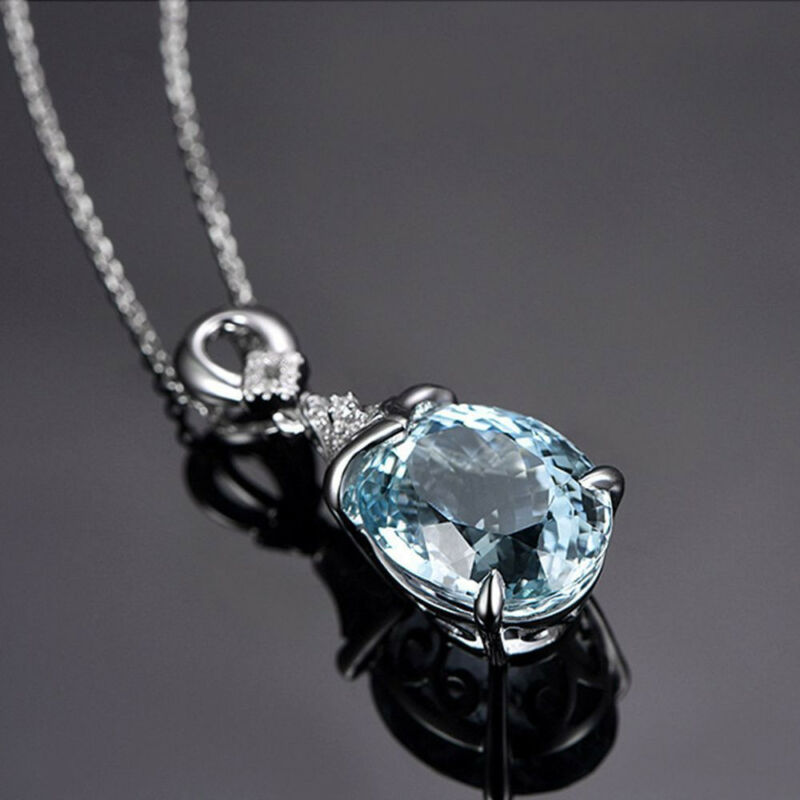 Vintage Gemstone  Natural Aquamarine Silver Chain Pendant Necklace Jewelry Gift 7