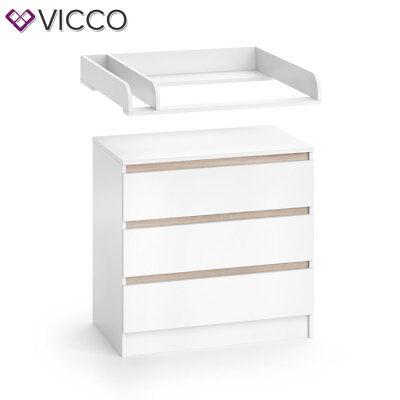 VICCO Wickelkommode Emma - Baby Wickeltisch Kommode mit 3 Schubladen Weiß Sonoma 5