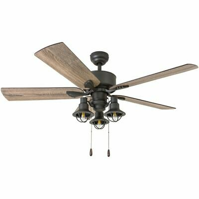 Farmhouse Ceiling Fan Light Fixture Kit Rustic Chandelier Bronze Led Lantern 52 179 63 Picclick
