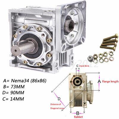 Nema34 Worm Gearbox Geared Speed Reducer 14mm Input Reduction for Stepper Motor 12