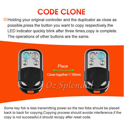 Universal Replacement Garage Door Car Gate Cloning Remote Control Key Fob 433 6