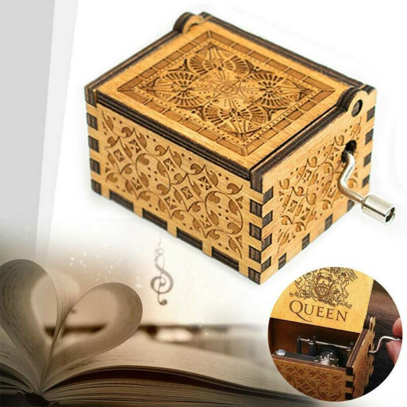 Hand Crank Wooden Engraved Queen Music Box Kids Christmas Gift 64*52mm 3