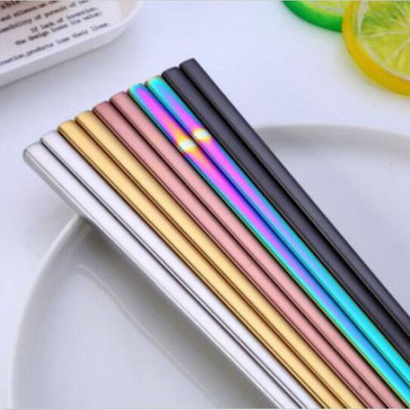 1 Pair Luxury Colorful Chopsticks Metal Chinese Stainless Steel Reusable Great