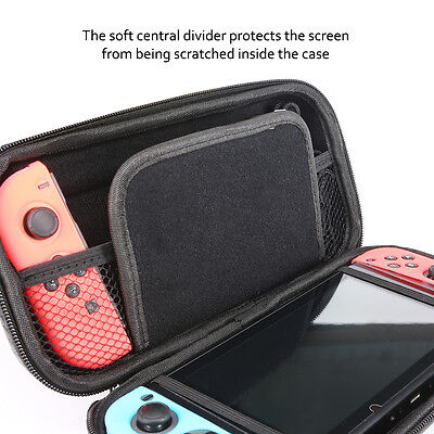 Nintendo Switch Carrying Case Carbon Fiber Hard Shell Portable Pouch Travel Bag