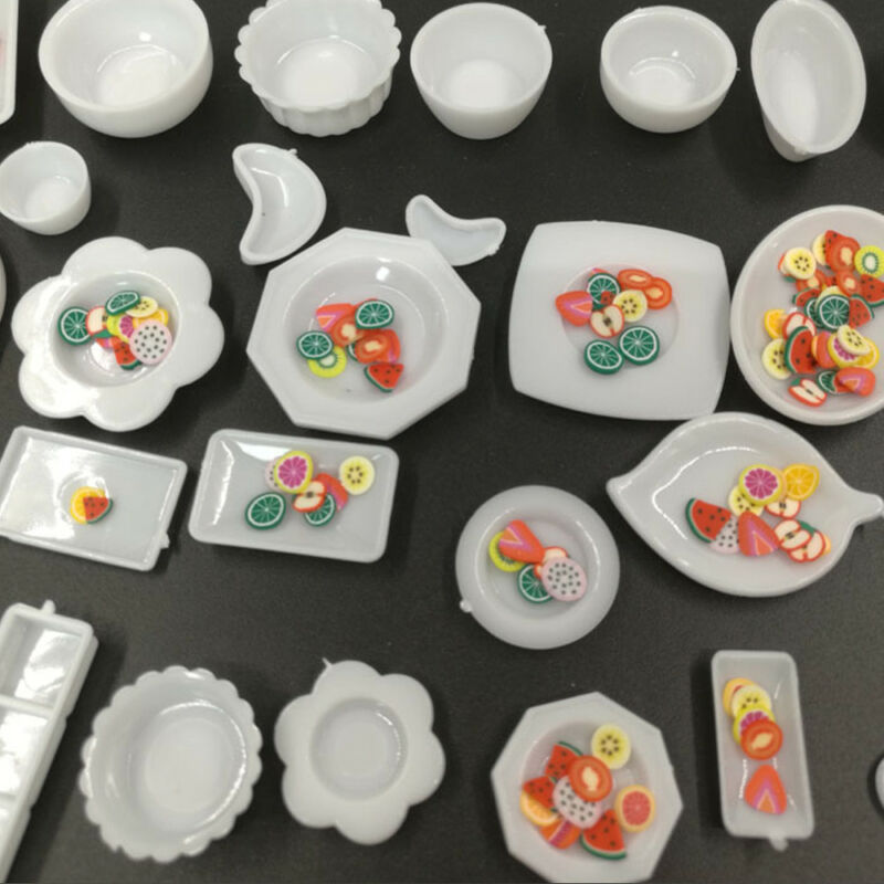 33Pcs/set Mini Kitchen Dishes Plate Food Tray Model Kids Toys Gift Accessories 3