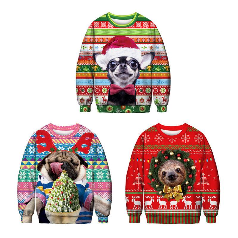 Unisex Ugly Christmas Sweater Santa Women Men Xmas Jumper Casual Sweatshirt Tops 9