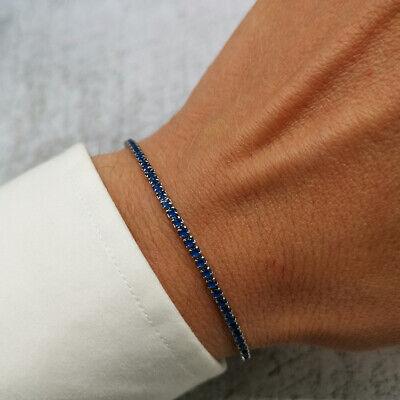 Bracciale tennis uomo acciaio in blu braccialetto da inox con regolabile 6