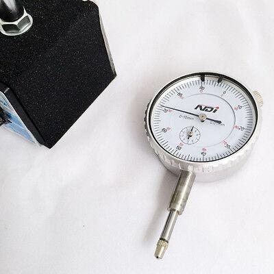 0-10mm Dial Indicator Gauge with Magnetic Base Fine Adjustable Long Arm 0.01mm 6