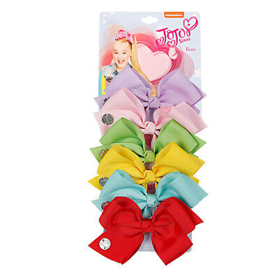 JOJO SIWA 6 Pieces/Set Rainbow Printed Knot Ribbon Bow Hair Chip For Kids Girls 4