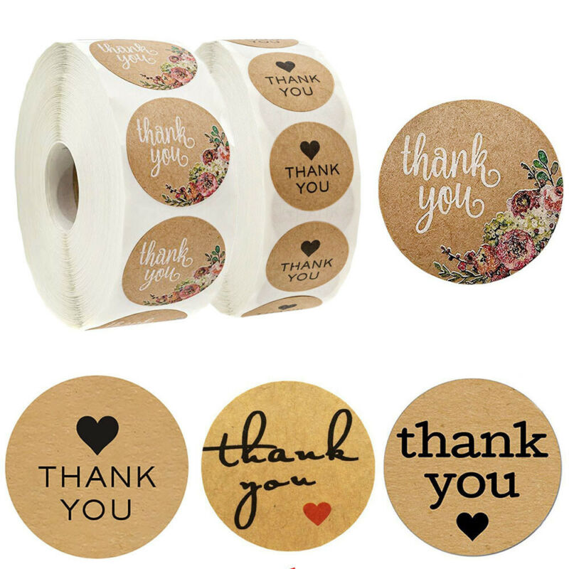 500Pcs/Roll Thank You Kraft Stickers Package Label Sealing Tag Party Supplies 3