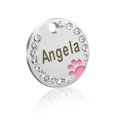 Personalized Dog Tags Paw Rhinestone Pet Cat ID Name Tag Engraved Free Hair Bows 4
