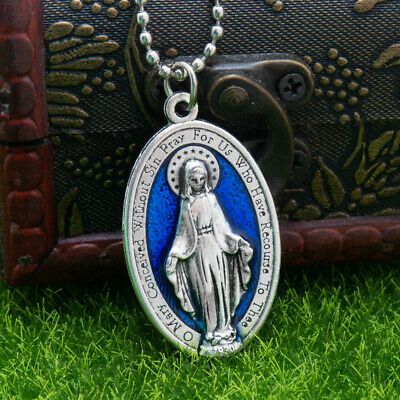 "Large 1 3/4"" Blue Miraculous Medal Virgin Mary Pendant Necklace 24"" Chain Italy 2"