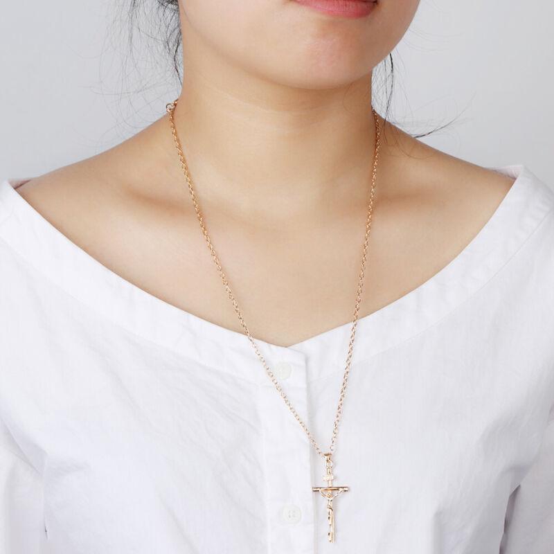 18K Gold Plated Women Men INRI Crucifix Jesus  Cross Pendant Necklace Chain 8