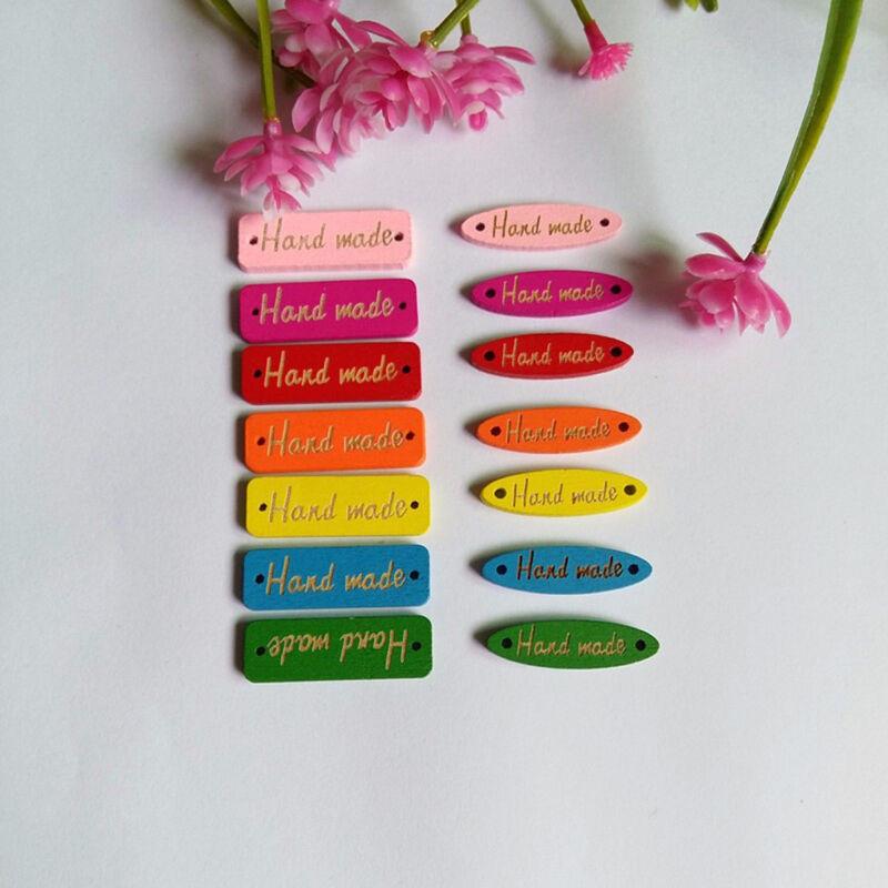"""100pcs """"Handmade"""" lettres DIY boutons en bois de couture scrapbooking artisanat"""