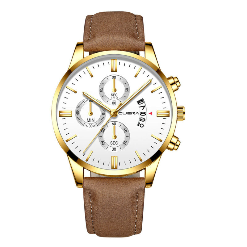 Fashion Sport Men's Stainless Steel Case Leather Band Quartz Analog Wrist Watch 8