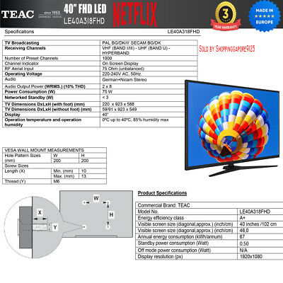 "TEAC 40"" Inch FHD SMART TV Netflix Youtube Freevie Made In Europe 3Year Warranty 12"