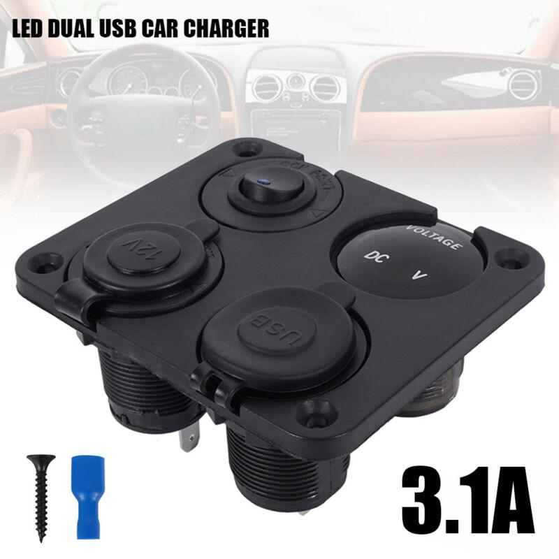 12V Car Boat switch panel Cigarette Lighter Socket 3.1A USB Charger Voltmeter 10