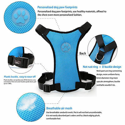 Breathable Air Mesh Dog Car Harness for Small Large Dogs Travel Seat belt Clip 11