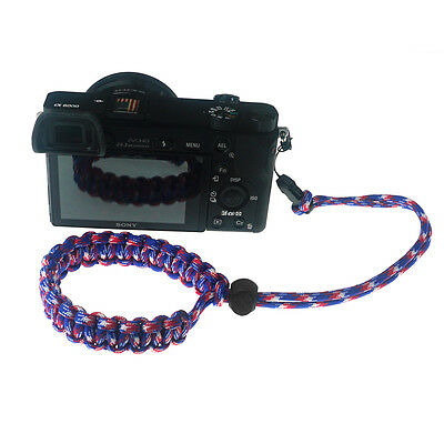 Red/Blue/White Quick Release Braided 550 Paracord Adjustable Camera Wrist Strap 2