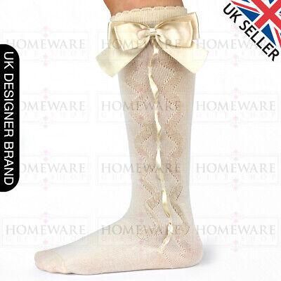 Girls Knee High Bow Socks Spanish Style Slotted Ribbon Socks Uk Designer Kids 5